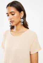 VELVET - Crinkle mini tiered dress puff sleeves - neutral