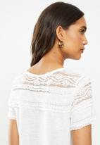 ONLY - Marjorie short sleeve mix top - stone