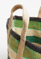 Sixth Floor - Jute storage basket with handles - green