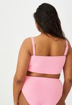 Cotton On - Curve bandeau bikini top - strawberry rib