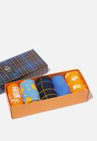 Cotton On - Burgers & beers! box socks - orange & blue