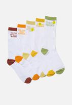 Cotton On - F#$k the week!! box socks - white