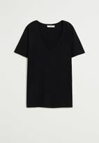 MANGO - T-shirt chalapi - black