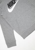 Nike - Nike club hooded long sleeve top - grey