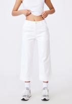 Factorie - Woven wide leg crop pant - cream