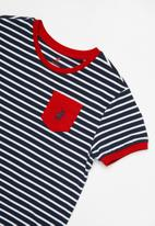 POLO - Paige striped short sleeve tee - red & navy