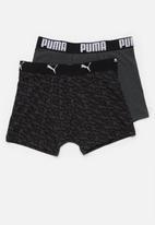 PUMA - Puma logo all over print boxer 2 pack - black & grey