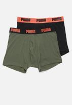 PUMA - Puma basic boxer 2 pack - khaki & black