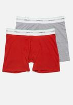 Superbalist - 2 Pack Ryder long boxer briefs - red & grey