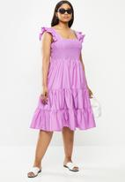Me&B - Plus cotton colour block sun dress with frill sleeves - lilac