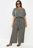 edit Plus - Relaxed fit highwaist pant - black & cream