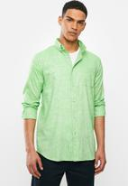 Jonathan D - Slim fit casual l/s linen shirt - lime