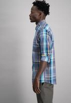 Aca Joe - Mens aca joe check shirt - blue & white
