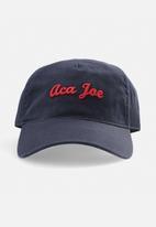 Aca Joe - Mens aca joe embroidered logo cap - navy/ red