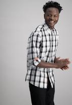 Aca Joe - Mens check long sleeve shirt - grey