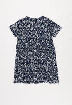 POP CANDY - Floral print short sleeve dress - navy & white