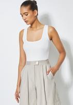 Superbalist - Single rib sqaureneck bodysuit - white