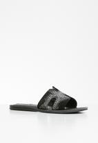 Steve Madden - Harlow slide - black & silver