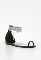 Sissy Boy - A diamond in the cuff - diamanté ankle strap sandal  - black