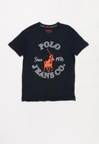 POLO - Sebastian printed v-neck tee - navy