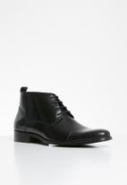 POLO - Lace up toe cap formal boot - black