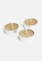 H&S - Glitter tealight set of 8 - gold