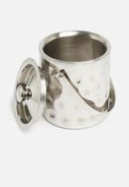 Excellent Housewares - Hammered ice bucket - silver