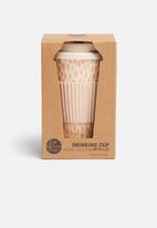 Excellent Housewares - Bamboo on-the-go rain drop mug - pink & cream
