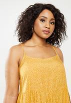 Blake - Tiered cami mini dress - yellow & white