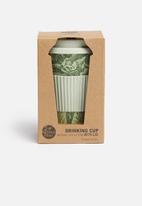 Excellent Housewares - Bamboo on-the-go floral  mug - grey & dark green