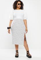 Blake - Bias cut midi skirt - white & black