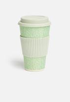 Excellent Housewares - Bamboo on-the-go fern mug - grey & green