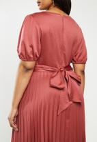 MILLA - Pleated wrap midi dress - burgundy