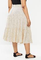 MILLA - Printed tiered skirt - cream & black