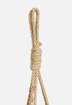 H&S - Woven hanging plant basket - brown