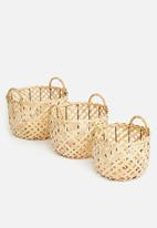 H&S - Criss cross basket set of 3 - brown