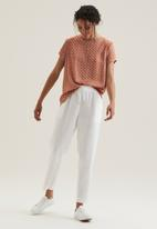 POLO - Denmark basic linen pull on pants - white