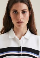 POLO - Berli rib inset short sleeve golfer dress - white
