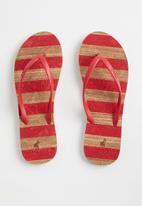 POLO - Kayla stripe flip flop - red & brown