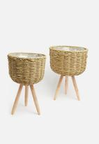 H&S - Seagrass planter set of 2 - brown
