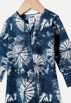 Cotton On - The long sleeve zip romper - navy blazer/tie dye