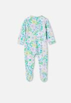 Cotton On - The long sleeve zip romper - frosty blue/blue bird retro floral