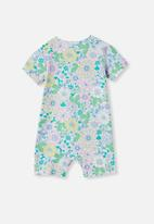 Cotton On - The short sleeve romper - frosty blue/blue bird retro floral