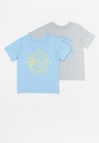 POP CANDY - Boys 2 pack printed tee - blue & grey