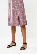 edit - Curved waist midi dress - dusty pink