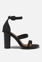 Cotton On - Lacey three strap heel - black