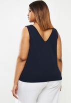 edit Plus - V-neck textured vest - navy