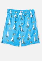 Free by Cotton On - Boys volly short - cockatoo gumnuts/blue bird