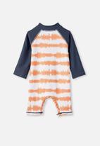 Cotton On - Cameron long sleeve swimsuit - dark melon tie dye