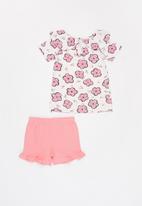 UP Baby - Girls flower tee & sweat shorts set - pink